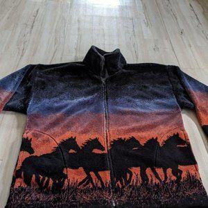 Vtg Women's Mazmania Wild Horses Full Zip Quality